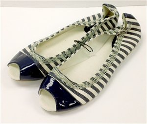 Navy Blue & White Stripe Slip-on Opened Toe - NY & CO - Size 10