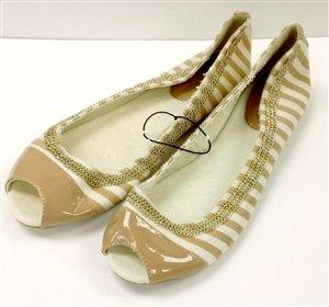 NY & CO Beige & White Stripe Slip-on Opened Toe - Size 9