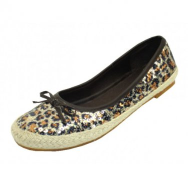 Leopard Casual Ballet Flat Slip-On Shoes Size