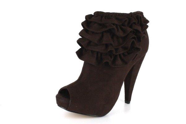 Akemi Peep-Toe Ruffled Ankle Booties