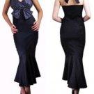 Black Polkadot bust wiggle gown S M L XL 2X 3X