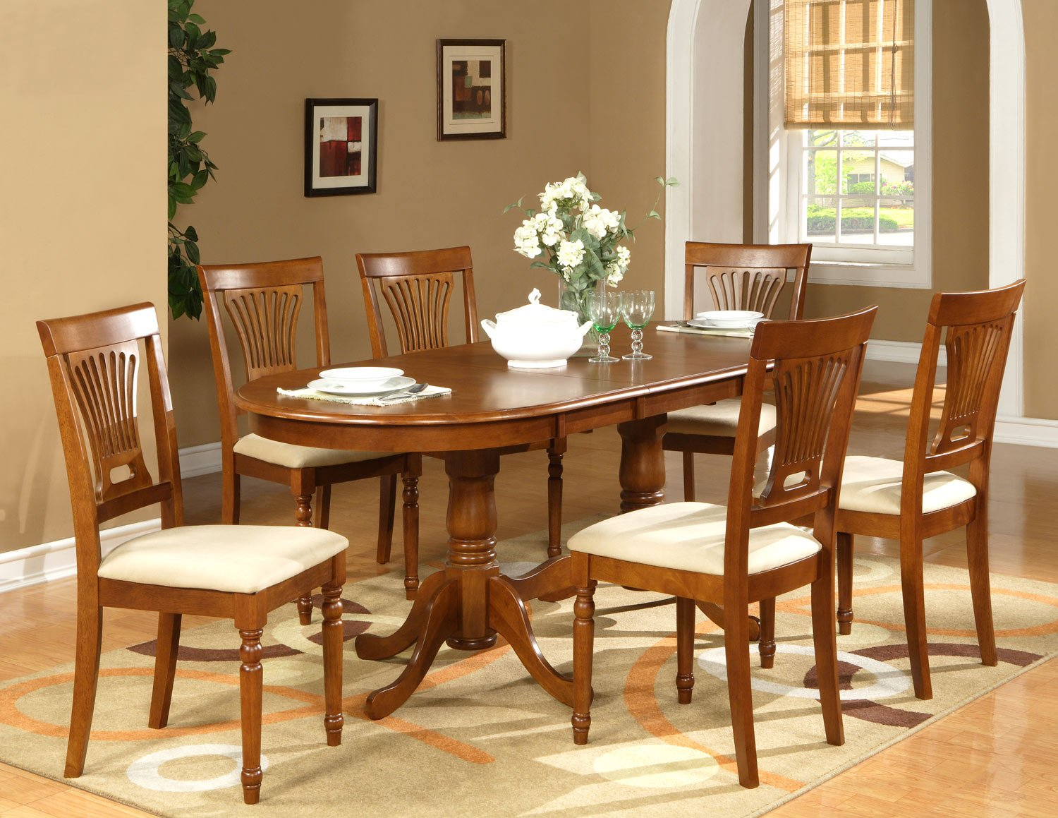 "5-PC Plainfield Oval Dining Room Table Set + 4 Chairs - Size: 42""x78"" in Saddle Brown. SKU: PL5-SBR"