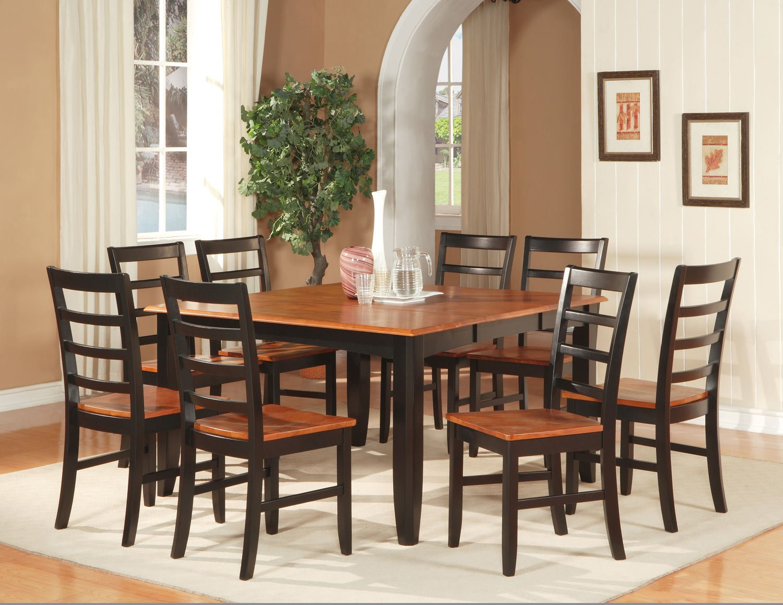 "Parfait 9-Pc Square Gathering Dining Table Set-54""x54""-Extension leaf . SKU: PA9-BLK-W"