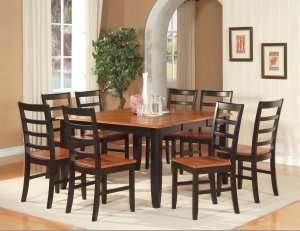 "Parfait 5-Pc Square Gathering Dining Table Set-54""x54""-Extension leaf. SKU: PA5-BLK-W"