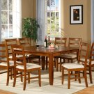 "Parfait 9-Pc Square Gathering Dining Table Set-54""x54""-Extension leaf in Saddle Brown. SKU: PA9-SBR"