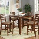 Cafe 5-PC Square Gathering Pub Counter Height Table Set-Size: 42&quot;x42&quot; in Espresso.  SKU:CF5-ESP