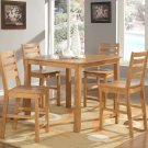 "Cafe 5-PC Square Gathering Pub Counter Height Table Set-Size: 42""x42"" in Oak. SKU:CF5-OAK"