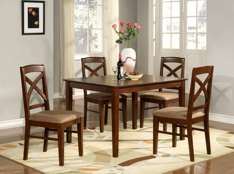 "Lisbon 5-PC Rectangular Dinette Kitchen Table Set-Size 36""x 48"".  In Mahogany.  SKU: LB5-MAH"