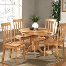 5-PC Antique Round Dinette Kitchen Table Set-Black Walnut Color.  SKU:  AN5-OAK