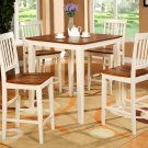 5-Piece Vernon Square Pub Table Set with 4 stools- in  Buttermilk & Cherry Finish.  SKU: VN5-WHI
