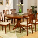 7-PC Avon Oval Dining Single Pedestal Table and 6 chairs in Saddle Brown Finish.   SKU: AV7-SBR