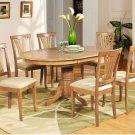 5-PC Avon Oval Dining Single Pedestal Table and 4 chairs in Oak Finish.   SKU: AV5-OAK