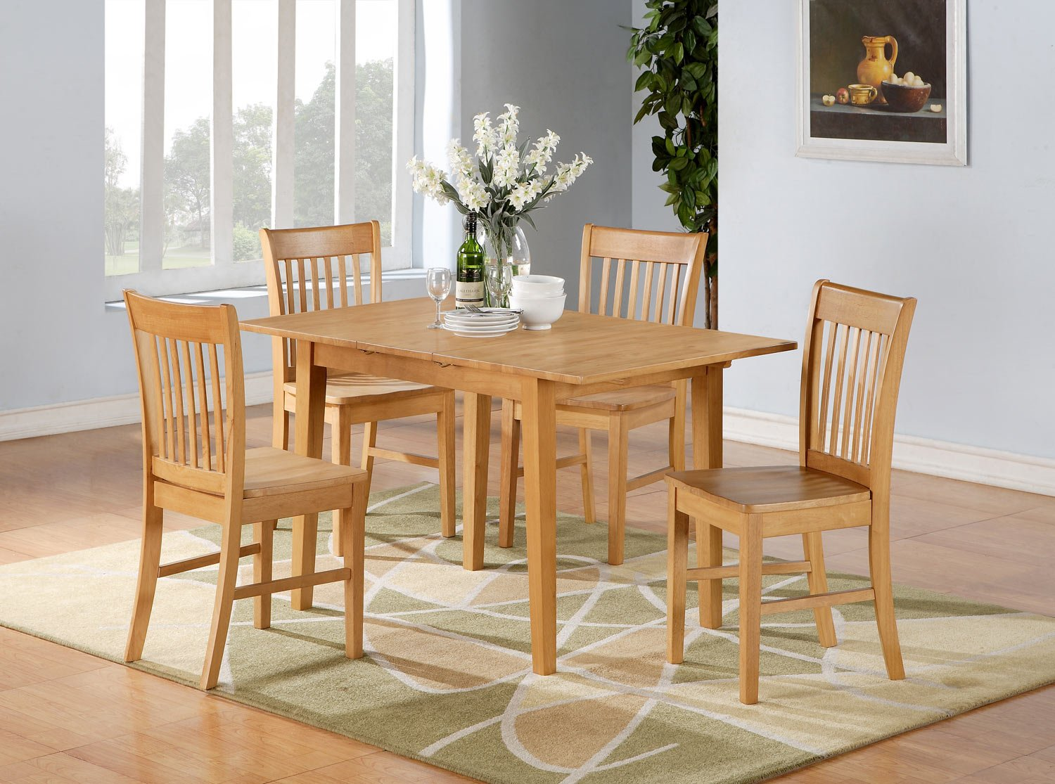 rectangular dinette table set 4 chairs in oak finish sku nf5 oak w