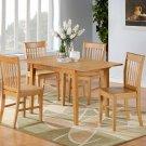 "7-PC Norfolk 32""X54"" Rectangular dinette table set & 4 chairs in Oak Finish.SKU:NF7-OAK-W"