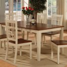 7-PC Nicoli Dining Table set-Size 36X66-in Buttermilk & Saddle Brown Color. SKU: N7-WHI-W
