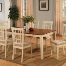 "7-PC Nicoli Dining Table set-Size 36""X66""-in Buttermilk & Saddle Brown Color. SKU: N7-WHI-C"