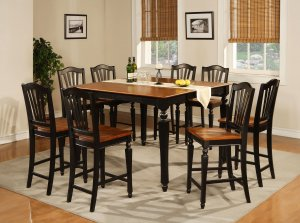 Chelsea 9-Pc Gathering Counter Height Dining table Set in Black & Cherry color.   SKU: CH9-BLK-W