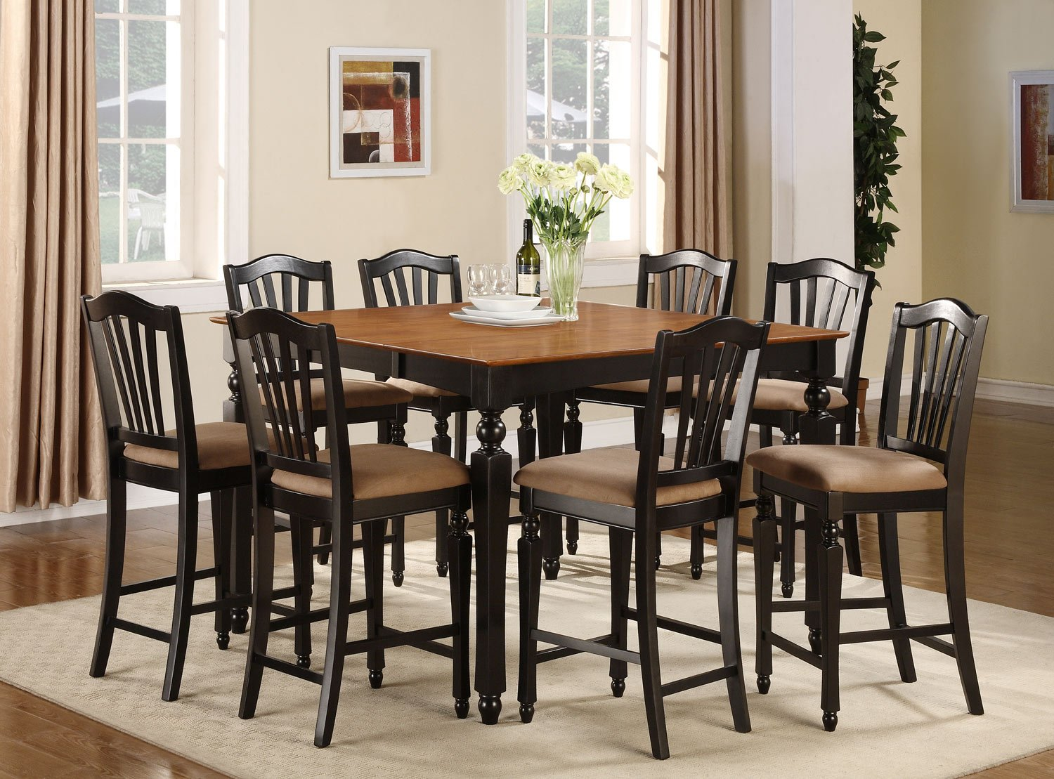 Counter Height Gathering Table Sets : Chelsea 5-Pc Gathering Counter Height Dining table Set in Black ...