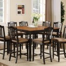 Chelsea 7-Pc Gathering Counter Height Dining table Set in Black & Cherry color.   SKU: CH7-BLK-C