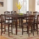 Chelsea 9-Pc Gathering Counter Height Dining table Set in Mahogany color.   SKU: CH9-ESP-W