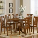 """Portland 7-PC Oval Dinette Dining Table set- 42""""x60""""-  in Saddle Brown Finish.   SKU: P7-SBR-W"""