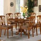 """Portna 7-PC Oval Dinette Dining Table set- 42""""x60""""in Saddle Brown Finish.   SKU: PN7-SBR-C"""