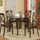 """Boston 5-PC Contemporary Round Dinette  42"""" Table  Set in Cappuccino.   SKU: B5-CAP-W"""