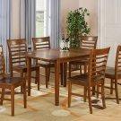 "Milan 7-PC Rectangular Dinette Dining Table Set-36""x 54"" with 12""extension leaf.   SKU: M7-SBR"