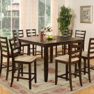 "Fairwinds 9-PC  Square Counter Height Dining Table Set in Cappuccino -Size:54'x54"".  SKU: F9-CAP-C"