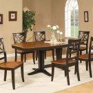 "Ellington 9-Pc  Dining Table Set- 40""X82"" - extension leaf- in Black & Cherry.  SKU: EL9-BLK-W"