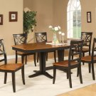 "Ellington 7-Pc Dining Table Set-40""X82""-extension leaf- in Black & Cherry.  SKU: EL7-BLK-W"
