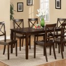 "Cabos 7-PC Rectangular Dinette Dining Set in Cappuccino -Table  36""x60"".   SKU:  CB7-CAP-S"