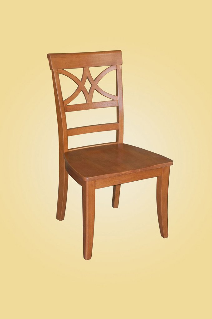 Set of 2 Ellington dining room chairs with upholstered or wood seat in Light Cherry finish.