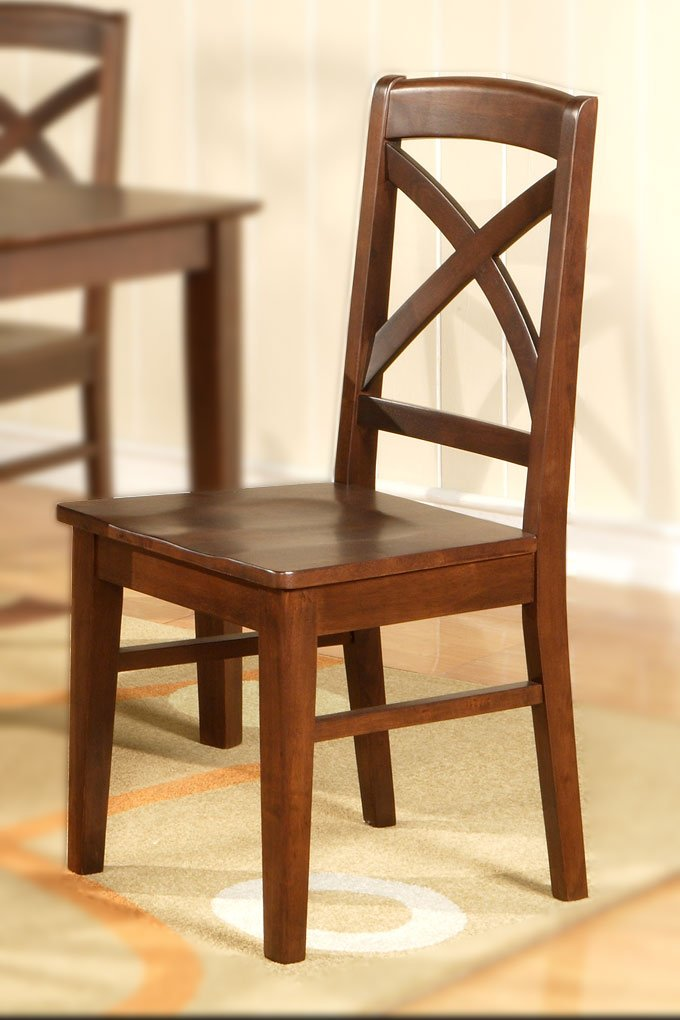 Set of 2 Lisbon chairs dining room chairs with wood seat or cushion seat espresso finish.