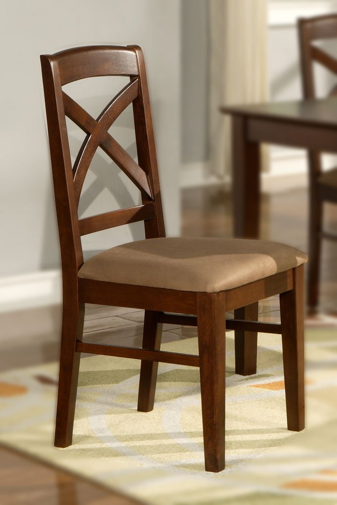 Set of 2 Lisbon chairs dining room chairs with wood seat or cushion seat mahogany finish.
