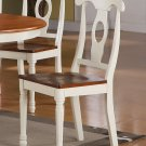 Set of 2 Napoleon styled back dining room chairs with wood seat in Cherry & Buttermilk finish.