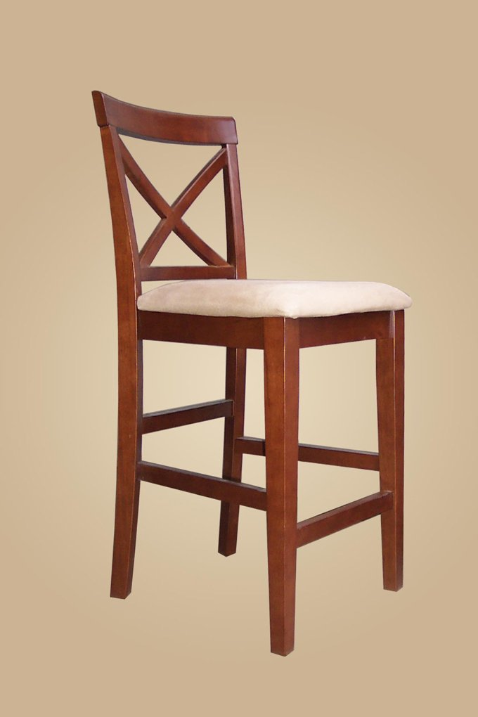 Set of 2  Pub counter height stools with wood or upholstered seat  in Dark Brown finish.
