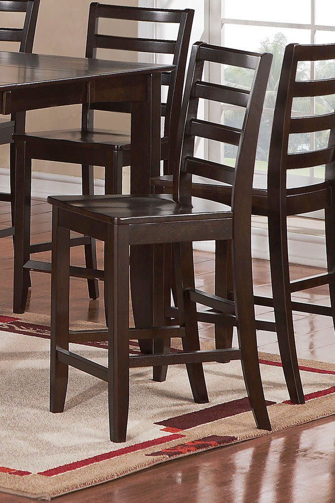 Set of 2  Fairwinds counter height stools with wood seat in Cappuccino finish.