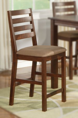 Set of 4  Cafe counter height stools with upholstered or wood seat in Espresso finish.
