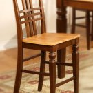 Set of 4  Logan counter height stools with wood seat in Espresso & Cinamon finish.