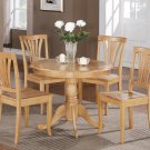 5-PC Bristol Round Dinette Kitchen Table Set- Oak Color.  SKU:  BT5-OAK