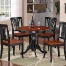 5-PC Weston Round Dinette Kitchen Table Set- Black & Saddle brown Color.  SKU:  BT5-BLK