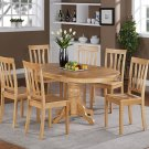 7-PC Easton Oval Dining Single Pedestal Table and 6 chairs in OAK color.   SKU: ET7-OAK-W