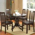 "3-PC Hartland Dinette Kitchen set  42"" diameter Round Table & 2 chairs-Black Walnut. SKU:HA3-WAL"