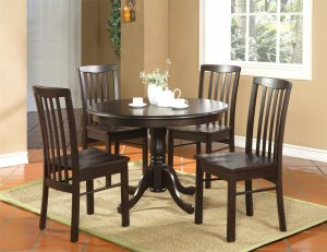 3-PC Hartland Dinette Kitchen set  42&quot; diameter Round Table &amp; 2 chairs-Black Walnut. SKU:HA3-WAL
