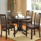 "Hartland Dinette Kitchen Table 42"" diameter Round Table. Black Walnut Finish. SKU:HL-T-WAL"