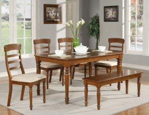 "Vintage Rectangular Dinette Dining Set in dark oak-Table Size 36""x60""- SKU: VS-T-DARK"