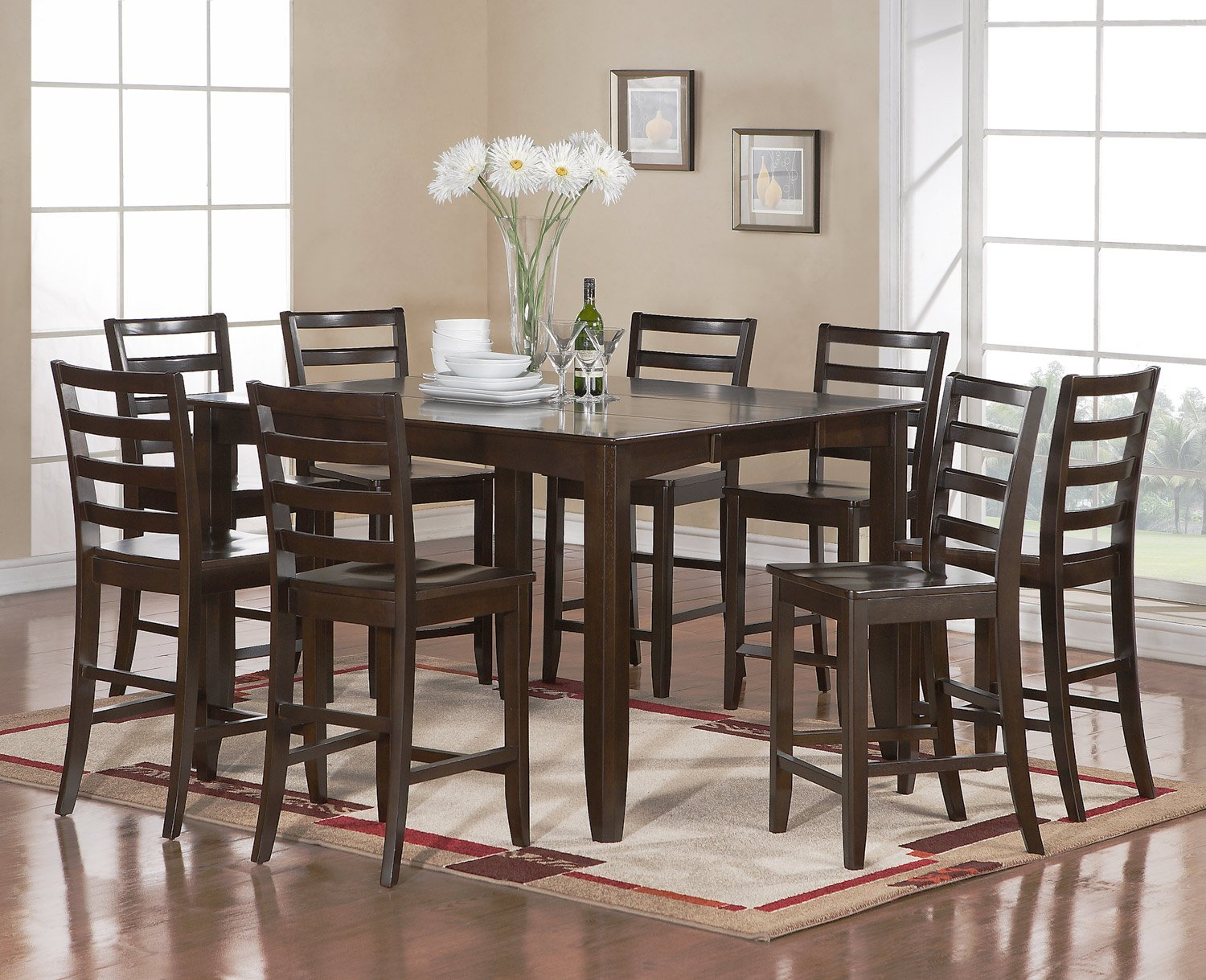 fairwinds square counter height dining table in cappuccino size 54