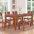 "Lynfield 6-PC Rectangular Dinette Dining Set in Espresso -Table Size 36""x54""/60"". SKU: LY6-LC-ESP"