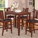 """3PC RECTANGULAR COUNTER HEIGHT SET 30""""X48"""" TABLE AND 2 FAUX LEATHER CHAIRS. SKU: BU3-WC-MAH"""